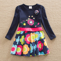 Wholesale 2 Y Retail Korean Girl Dress Child Clothes Kids Clothing Summer Long Sleeve Kid Girls Skirts Children Dresses LH5868 H5868