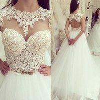 Wholesale Elegant Sheer Skirt Wedding Dresses Beaded Appliqued Tulle A Line Bridal Gowns Custom Made Vestido De Noiva Sereia