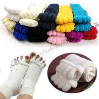 Wholesale Fedex DHL Free colors Yoga GYM Massage Open Five Toe Separator Socks Foot Massage Toe Socks Foot Pain Relief Soft Socks M558