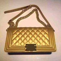 Bleu boston sacs Avis-Livraison gratuite garçon 25.5cm original en cuir vernacé sac bandoulière perle Champagne Gold Blue