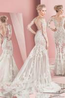 achat en gros de zuhair murad voir à travers la robe-Manches longues dentelle sirène robes de mariée 2016 zuhair murad voir à travers les robes de mariée bustier bretelles décolleté robes de mariée