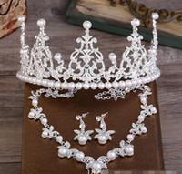 Perle collier pendentif Prix-Mariage Mariage Cristal Bijoux Diamant Set Pour Femmes Crème Collier Perle Pendentif Argent Boucles D'oreilles Star Style Imperial Crown Beauté Accessoire