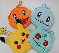 Wholesale Poke Coin Purse Pikachu Change Bags Poke Go Wallet Cartoon Poke Ball Key Bags Jeni Turtle Bulbasaur Charmander Keychain Gifts PPA815