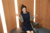 balls voyages - Fall collection Han edition stripe splicing half high collar with little voyage dress