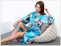Wholesale womens Solid royan silk Robe Ladies Satin Pajama Lingerie Sleepwear Sexy Kimono Women Lingerie Slik Solid Robe Lady Satin Night Pajamas
