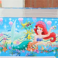 Wholesale the little mermaid cm table cloth cover kids girls birthday party decoration plastic disposable map event party supplies