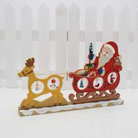 Acheter Noël figurines gros-Vente en gros- Artisanat en bois Cadeaux Figurines de Noël pour le bureau à domicile Table Décoration de Noël Nouvel An Adornos Navidad 2016 Enfeite De Natal