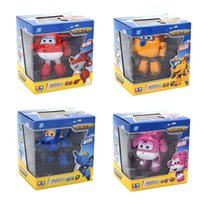 Wholesale 4pcs set cm Super Wings Deformation Airplane Robot Action Figures Super Wings Transformation Jet toys for children gift