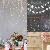 Wholesale Star shaped Paper Garlands M Colorful Bunting Home Wedding Party Banner Hanging Paper Garland Shower Room Door Decoration