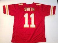 Costume retro barato cosido cosido # 11 <b>Alex Smith</b> rojo jersey de retroceso jerseys de fútbol de los hombres