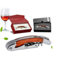 Wholesale Wood Handle Stainless Steel Corkscrew Double Hinge Red Wine Bottle Opener With Delicate Gift Box Abridor De Garrafa Tools ZA1648