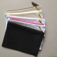 Wholesale 1pc oz blank cotton canvas cosmetic bag with gold zip unisex casual coin purses blank make up bag with matching color lining x10in