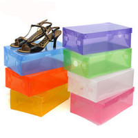 Wholesale Transparent Shoebox with Lid Clear Plastic Shoe Clamshell Storage Boxes Bins DIY Boots High Heels Shoes Boxes Home Organizer