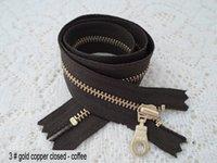 Wholesale 3 zinc alloy cuffs closed zipper Skirt waist side silent coffee ykk zipper cm to gold plated copper zipper