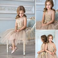 beautiful pictures children - 2016 Chic Gold Color Flower Girls Dresses Lace Illusion Sleevs Beautiful Jewel Gold Lace Flowers Children Christmas Festivals Gift