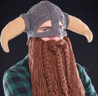 bearded hat - 2017 Beanie Skull Caps Bearded Knitted Hats winter Vikings Horn Knitted Hat Warmer Ski Bike Skull Hat Unisex Men Children Beard Cap DHL