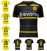 Wholesale 16 Dortmund Soccer Uniform Football Jerseys Embroidery Logo REUS Gotez Schurrle Aubameyang DEMBELE