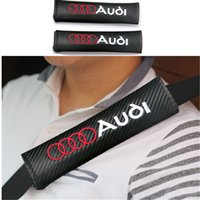 Wholesale 2pcs Black Car Carbon Fiber Seat Belt Shoulders Pad Truck Cover SLINE For AUDI A1 A3 A4 A5 A6 A7 A8 Q3 Q5 Q7 TT R8 RS