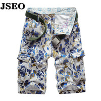Cotton belted cargo shorts - JSEO Mens Overalls Camouflage Brand Short Men s Shorts Plus Size Summer Style Loose Cargo Shorts Casual No Belt