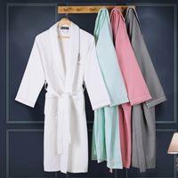 Wholesale Waffle cotton women bathrobe men sleepwear bathrobe for girl blanket towel hotel lovers long soft plus size spring summer autumn