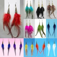 Wholesale Feather Earrings Colors Cute Bronze Charm Chain Light Dangle Eardrop Army Green Navy Blue Yellow Black White Red JF309