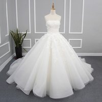 best photo prices - Plus Size Real Pictures Of White Wedding Dresses Ball Gown Strapless Chapel Train Lace Up Appliques Draped Best Price Bridal Gowns