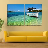 beautiful corridors - 2 Beautiful blue seascape paintings sailboat on the sea pictures art wall paintings for porch and corridor decoration unframed