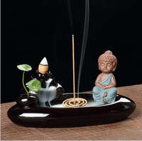 artistic metal art - Backflow incense burner small monk creative artistic figures ceramic purple decoration large tea tower tower incense sandalwood aromatherapy