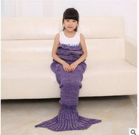 Wholesale colours mermaid tail yarn knitted blanket hand made horn hook cover children s super soft sleeping bag