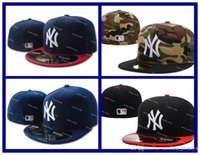 Ball Cap active team sports - New NY Yankees Fitted Caps Embroidered Team Logo New York Baseball Sport Cap Cool Base Full Closed Camo Flat Brim Hip Hop Caps Size7