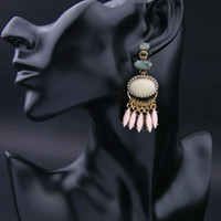 big retro style earrings - European and American fashion Retro National Style Artificial gem big Pendant Earrings as Women s Christmas gifts