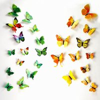 Wholesale 3D Butterfly Wall Decals Multicolor PVC Stickers For TV Kids Bedroom Wall Home house Decoration New fashion