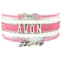 avon gift sets - Custom Infinity Love Avon Charm Wrap Bracelet Best Gift Pink White Wax Suede Leather Custom any Themes Dropshipping
