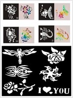 Wholesale Pack Glitter Flash Tattoo Stencil Temporay Airbrush Tattoo Stencil For Body Art Paint