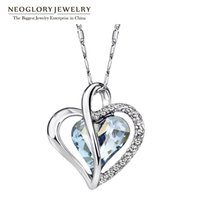 Wholesale Neoglory Austria Crystal Rhinestone Love Heart Pendant Necklaces for Women Designer Fashion Jewelry