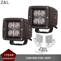 soportes de luces de jeep al por mayor-Para JEEP Wrangler JK 12W 18W Luz de trabajo LED A-Pillar Parabrisas Offroad Driving Lamp Faros W / Mounting Brackets Holder Clamp