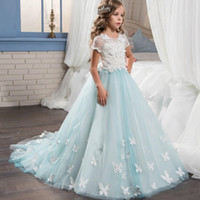 Wholesale Short Sleeves Pretty Lace Little Bride Flower Girl Dresses With Train Graduation Kid Glitz Girls Pageant Prom Dresses
