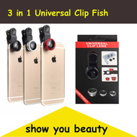 Wholesale 3 in Universal Clip Fish Eye Lens Wide Angle Macro Mobile Phone Camera Glass Lens Fisheye For iPhone Plus s for Samsung S5 S6 S7 edge