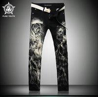 achat en gros de pantalons de jeunesse gros-Jeans Pantalons Jeans Denim Pantalons Longs Jeans Crâne Squelette Imprimer Jeans Loisirs Pantalons Denim Noir