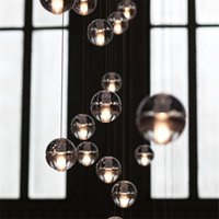 Wholesale LED Crystal Glass Ball Pendant Lamp Meteor Rain Ceiling Light Meteoric Shower Stair Bar Droplight Chandelier Lighting