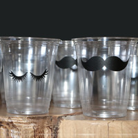 Wholesale Eyelash Sets Mustache oz Clear Disposable Cup Party Supplies Cups Favor Accessory Birthday Kids Event Party Supplies
