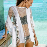 Wholesale 2017 New White Tassels Cover Ups Beachwear Sexy See Through Striped Kimono Tops Slash Neck Fringes Mini Loose Beach Dresses ZZNF0702