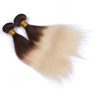 Compra Marrón brasileño recto pelo tejido-Extensión brasileña 4/613 del pelo de Ombre de Ombre 3pcs / lot del pelo de Brown Extensión brasileña 4/613 del pelo de Ombre de la armadura de Ombre del color Extensión recta