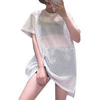 Wholesale New summer style Euramerican sexy long top side split hollow out perspective mesh T shirt women short sleeved female