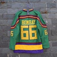 Wholesale Vanled Mighty Ducks Movie Jersey Gordon Bombay Hockey Jersey Stitched Sewn Green size S small xl
