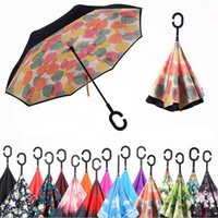 Wholesale Inverted Umbrella Windproof Reverse Folding Double Layer Advertising Self Stand Inside Out Rain Protection C Hook Hands For Car Gifts New