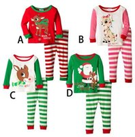 Wholesale New Kids Christmas Suits styles set Boys Girls Christmas Pajamas Santa Claus Deer Sleepwear for T Kids Christmas Outfit D733 sets