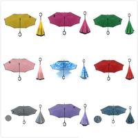 beach umbrella sale - Hot Sale Windproof Inside Out Reverse Umbrella Inverted Beach Umbrellas Double Layer Umbrella Colors to Choose Fast Shipping