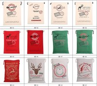draw string bag - New style Christmas gift beam pocket Santa and the reindeer print canvas draw string bag Rapid transit for free