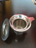 Wholesale 304 Stainless Steel Mesh Cup and lid Reusable Strainer Herbal Locking Tea Filter Infuser Spice x8 cm H1302